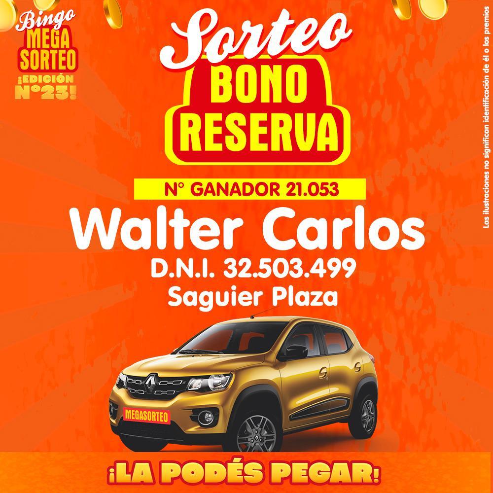 Sorteo Bono Reserva – 23º Bingo Megasorteo