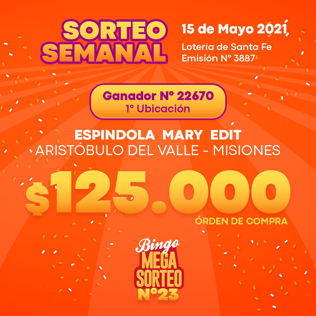 Sorteo Semanal Mayo 15/05/2021 – 23º Bingo Mega Sorteo