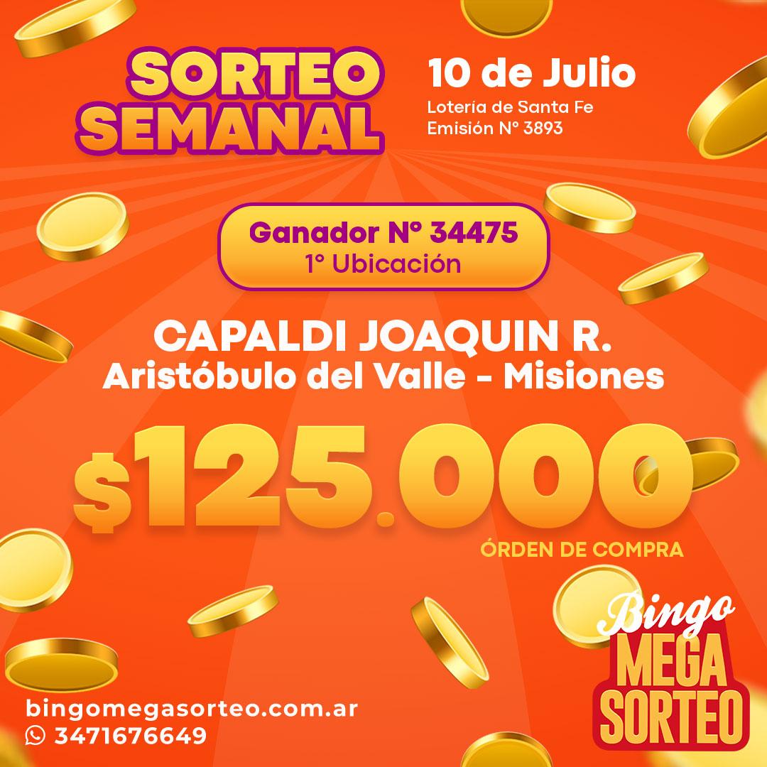 Sorteo Semanal 10/07/2021 – 23º Bingo Mega Sorteo