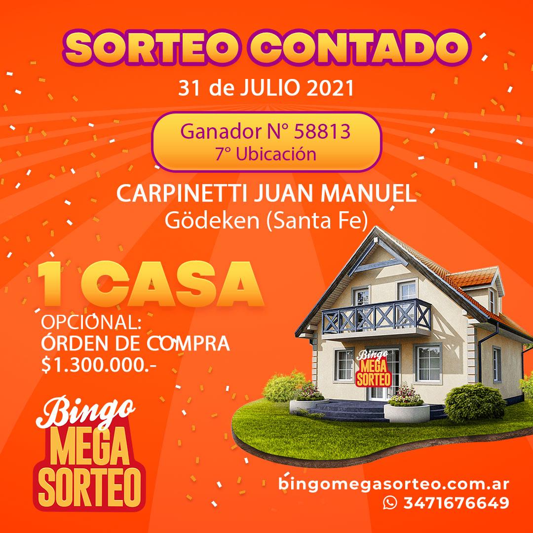 Sorteo Contado 31/07/2021 – 23º Bingo Mega Sorteo
