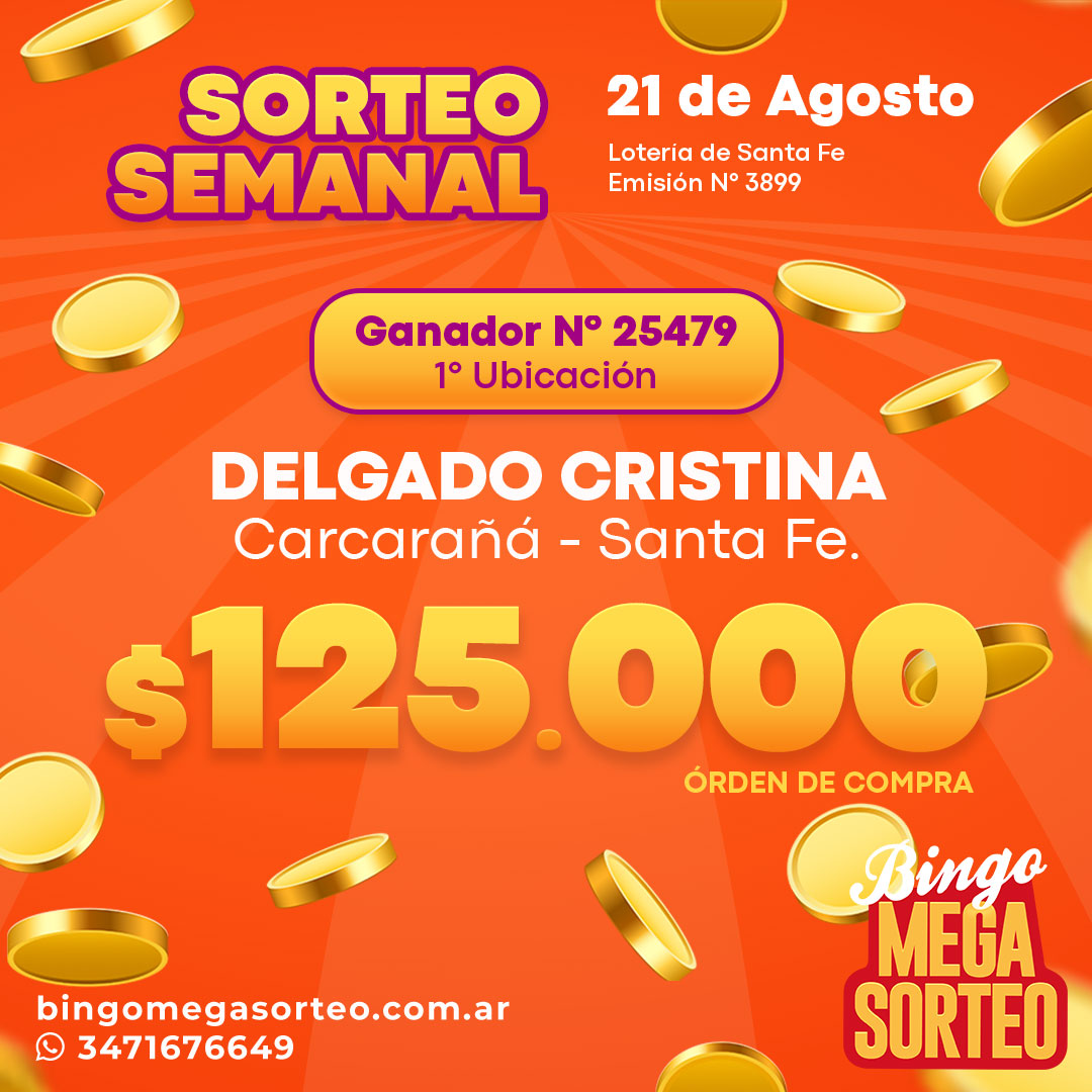 Sorteo Semanal 21/08/2021 – 23º Bingo Mega Sorteo
