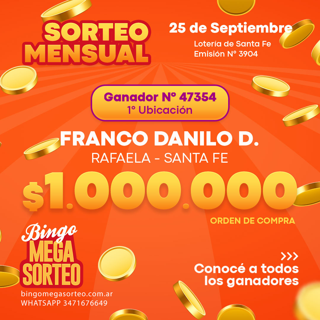 Sorteo Mensual 25/09/2021 – 23º Bingo Mega Sorteo