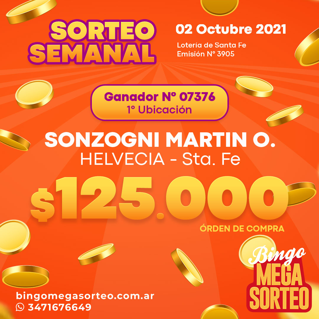 Sorteo Semanal 02/10/2021 – 23º Bingo Mega Sorteo